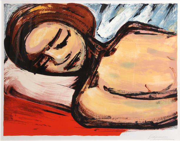 David Alfaro Siqueiros (Mexican, 1896-1974); Reposa (Reclining Woman);