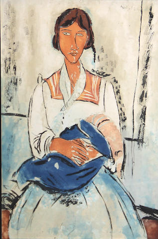 After Amedeo Modigliani (Italian 1884-1920); by Jacques Villon L'Italienne;