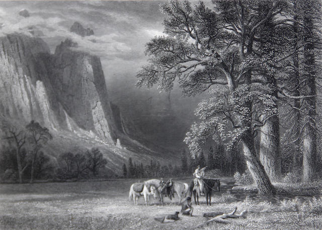 After Albert Bierstadt (German/American, 1830-1902) A Halt in the Yosemite Valley;