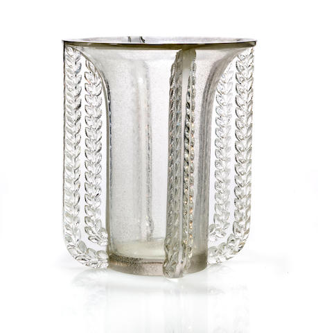 A René Lalique molded and sand blasted clear glass vase: Marignane Marcilhac 10-895, model introduced 1936