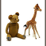 A Steiff giraffe and an English teddy bear