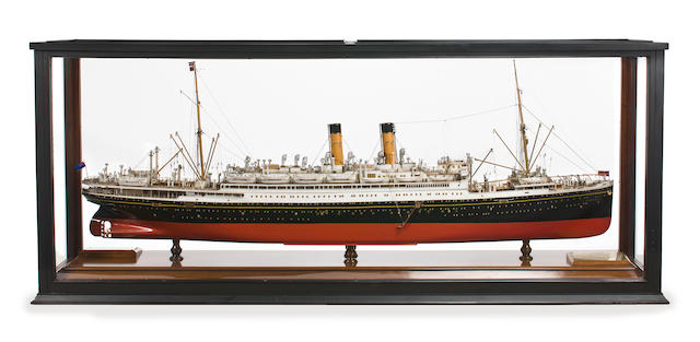 A builders' model of the R.M.S. Albertic for the White Star Line  circa 1927 82-1/4 x 18 x 34 in. (208.9 x 45.7 x 86.3 cm.) cased.