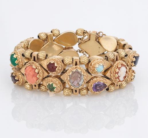 A hardstone cameo and gem-set slide bracelet