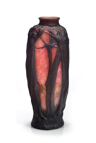 A good Daum Nancy mold-blown cameo glass landscape vase circa 1900
