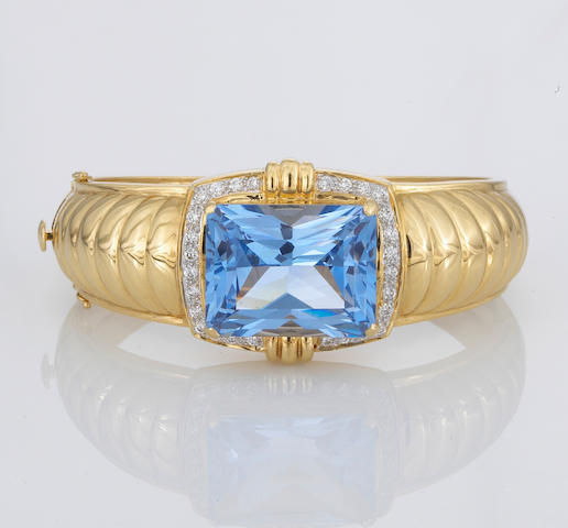 A synthetic blue spinel and diamond bangle bracelet