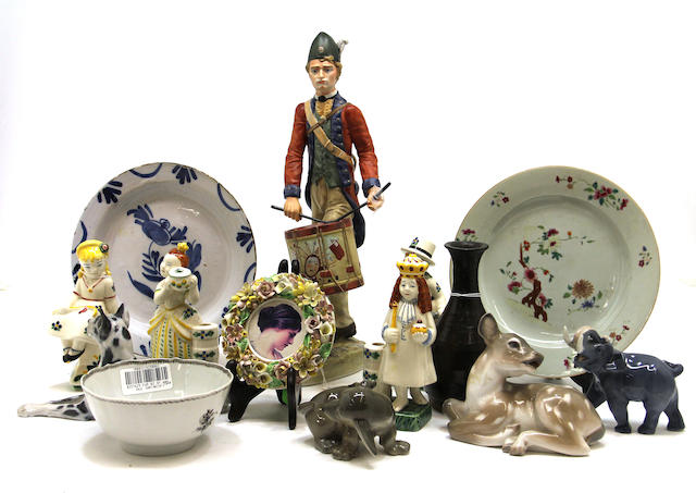 An assembled group of Continental and Asian ceramics, including Royal Copenhagen
