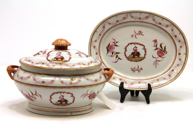 A Continental enameled porcelain tureen, cover and stand in Chinese export style