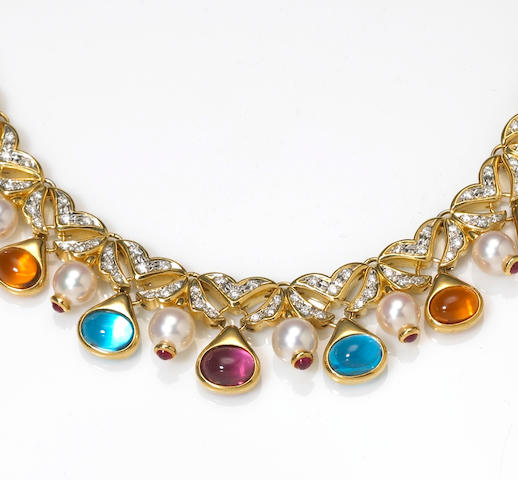 A ruby, diamond, gem-set and cultured pearl necklace