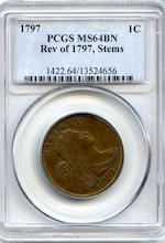 1797 1C Reverse of 1797, Stems MS64 Brown PCGS