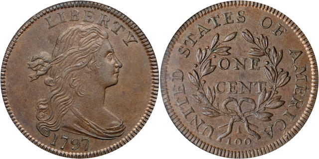 1797 1C Rev of 1797, Stems MS64BN PCGS