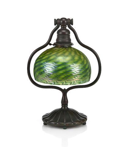A Tiffany Studios Favrile glass and bronze Harp lamp 1899-1918