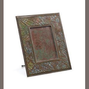 A Tiffany Studios Favrile glass and bronze Pineneedle picture frame 1899-1918