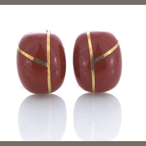 A pair of sard and eighteen karat gold inlaid earclips, Tiffany & Co.
