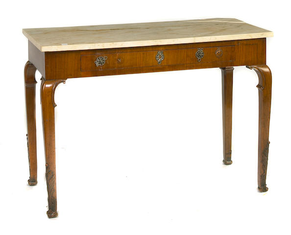 A George II style walnut marble top side table circa 1900