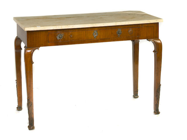 A George II style walnut marble top side table