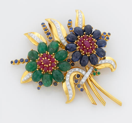 A sapphire, emerald, ruby and diamond articulated floral bouquet pendant-brooch