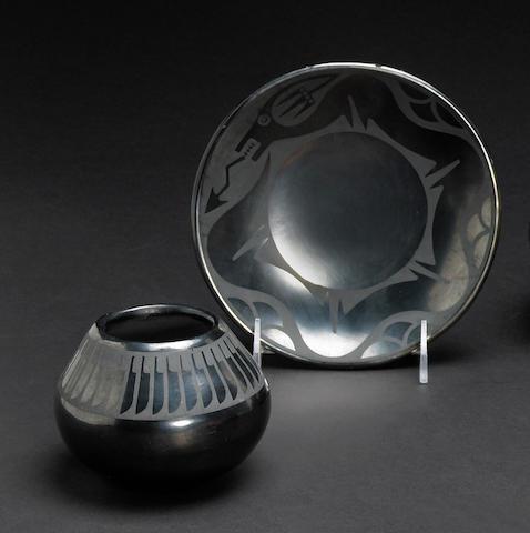 Two San Ildefonso blackware vessels