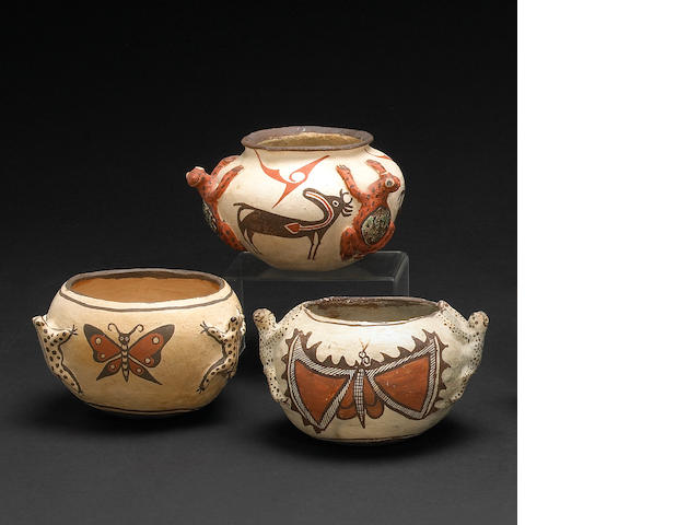 Three Zuni polychrome frog jars