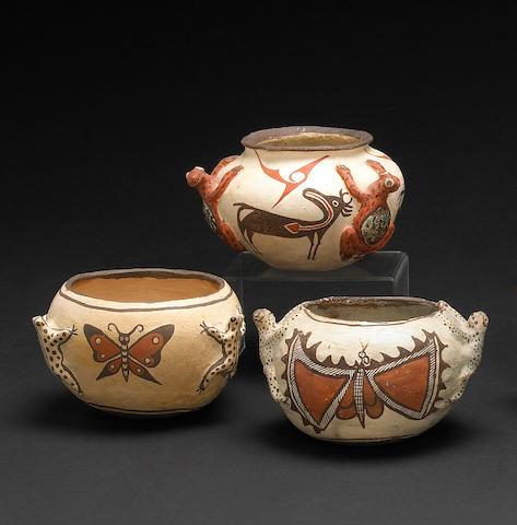Three Zuni polychrome frog jars