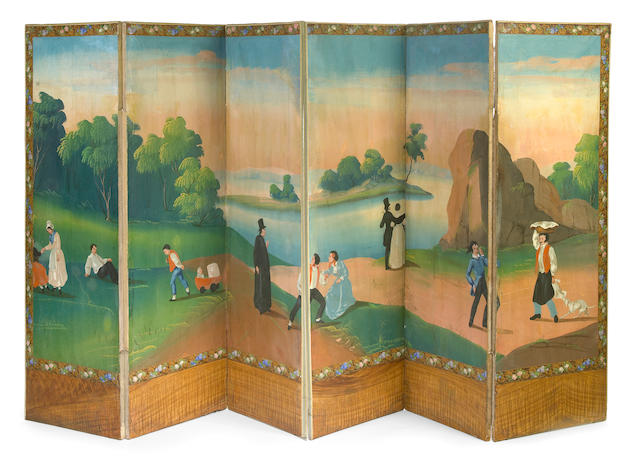 An Italian Neoclassical paint decorated six fold floor screen first quarter 19th century