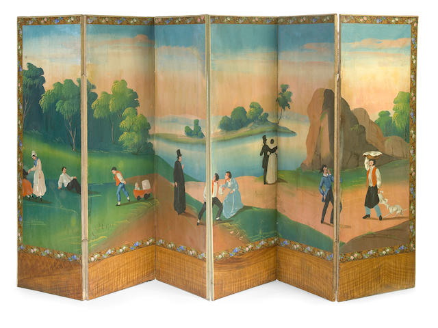 An Italian Neoclassical painted six panel floor screen first quarter 19th century