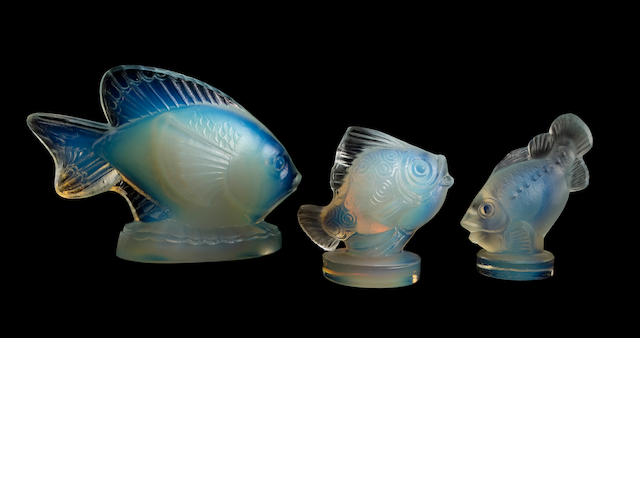 Three Sabino opalescent glass fish circa 1930