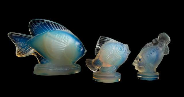 Three Sabino opalescent glass fish circa 1930