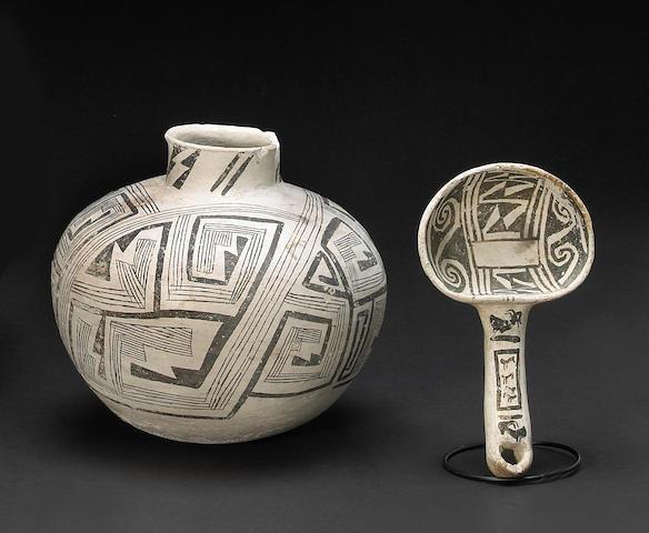 Two Anasazi black-on-white items