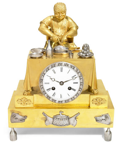 French gilt and silvered bronze figural clock