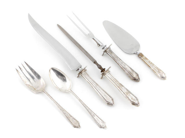 A sterling flatware set Towle Silversmiths, Newburyport, MA <br>Virginia Lee, monogrammed: K