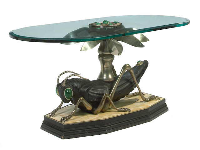 A custom mixed metal, wood, malachite, bone veneer and glass Grasshopper coffee table 20th century