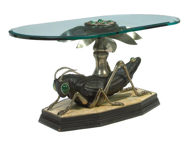 A custom mixed metal, wood, malachite, bone veneer and glass Grasshopper coffee table 20th century