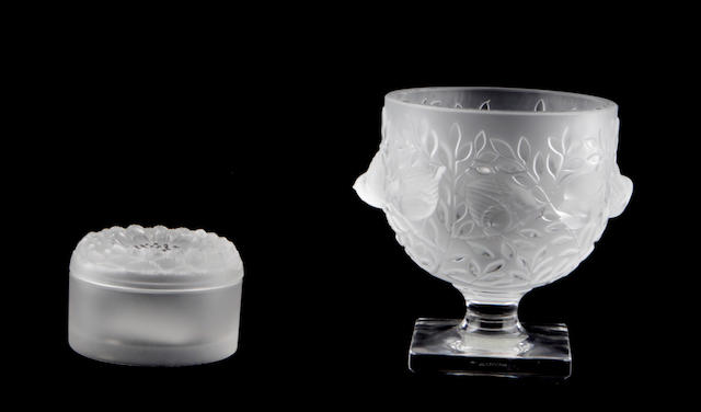 A group of two Cristal Lalique molded frosted glass articles
