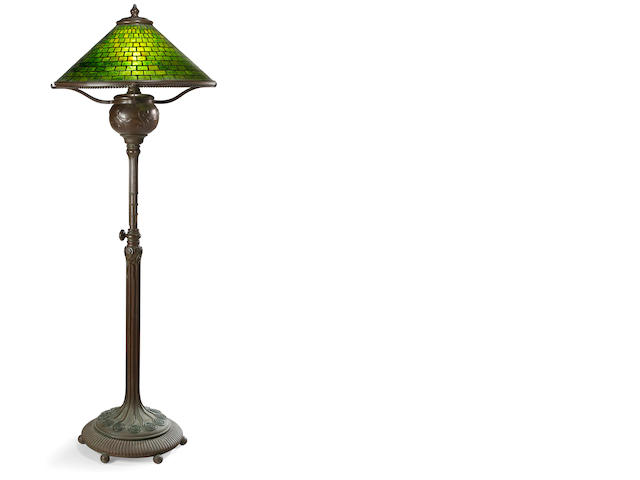 A Tiffany Studios Favrile glass and patinated-bronze Telescopic Geometric  floor lamp  1899-1918