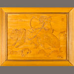 A Quincy Tahoma carved wood panel