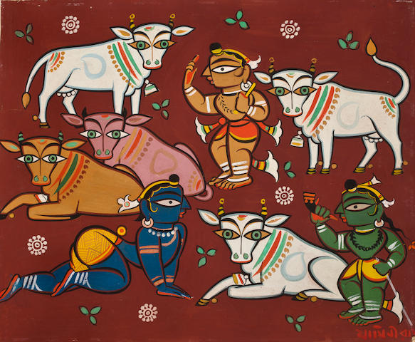Jamini Roy (India, 1887-1972) Deities and Cows,