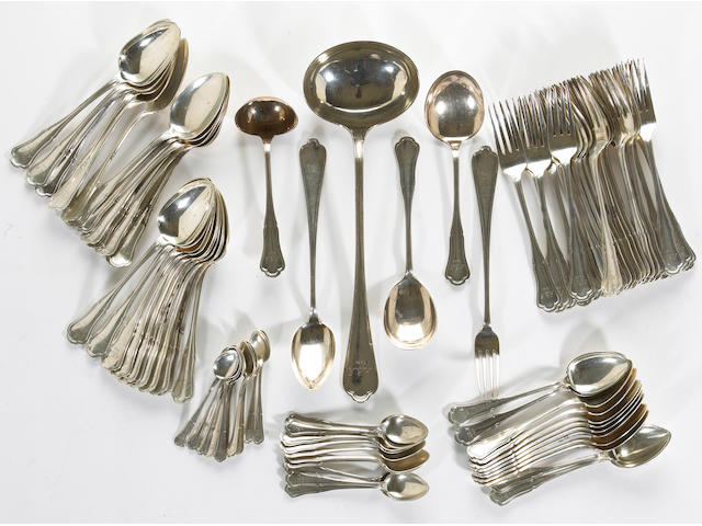 A Norwegian 830 standard silver partial flatware set J. Tostrup Monogrammed and dated: AEN/1921