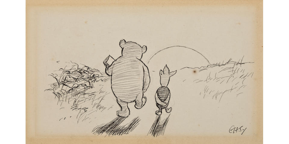 """Ernest Howard Shepard (British, 1879-1976) """"Pooh and Piglet walked home thoughtfully together in the golden evening, and for a long time they were silent,"""""""