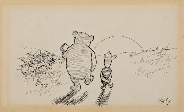 "Ernest Howard Shepard (British, 1879-1976) ""Pooh and Piglet walked home thoughtfully together in the golden evening, and for a long time they were silent,"""