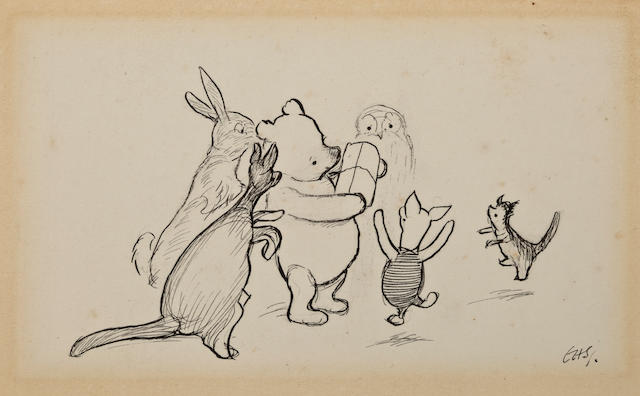 "Ernest Howard Shepard (British, 1879-1976) ""Pooh's Party,"""
