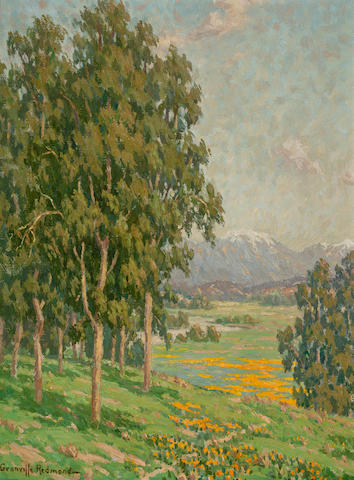 Granville Redmond (American, 1871-1935) California wildflowers and distant snowcapped mountains oil on canvas signed 16 x 20in Private Collection, New Jersey