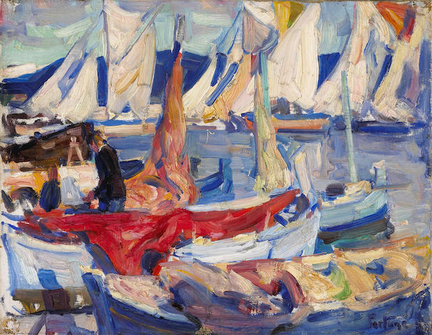 (n/a) E. Charlton Fortune (1885-1969) Drying sails I, 1926 12 1/2 x 16in