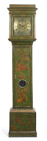 A George III green laquered tallcase clock <br>John Burpult, London<br>second half 18th century