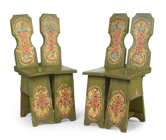 A pair of Tyrolean paint decorated twin chairs