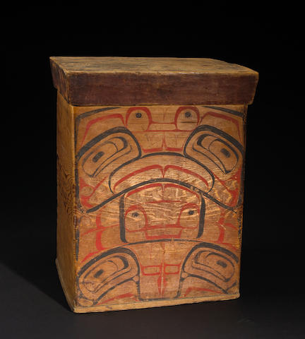 A Bella Bella or Tsimshian bentwood lidded box