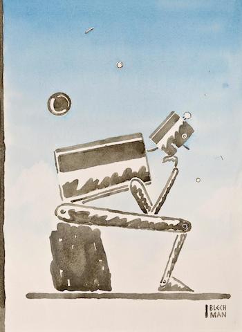 "(n/a) R.O. Blechman (American, born 1930) ""Robot (after Rodin),"""