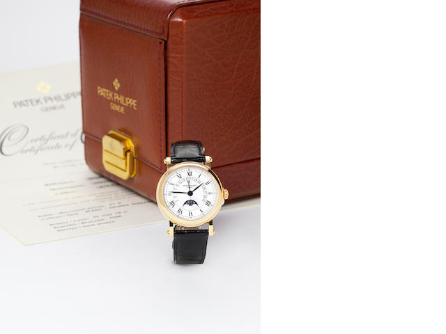 Patek Philippe. A fine 18K rose gold automatic center seconds watch with retrograde perpetual calendar and moon phases Ref.5059R, Movement no.1957342, Case no.4047980,