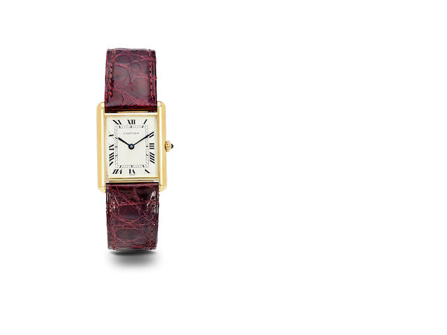 Cartier. An 18K gold Tank wristwatchNo. MG217280, 1990's