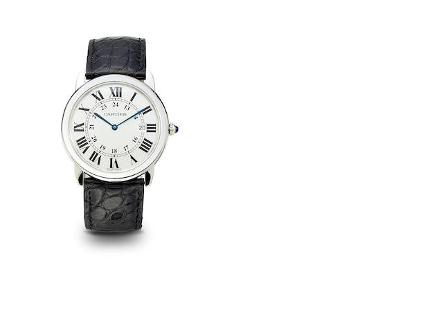 Cartier. A fine stainless steel wristwatch with date and 24-hour chapters812434MX / 2934, 1990's