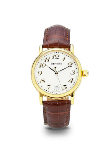 Montblanc. A gilt steel automatic center seconds wristwatch with dateStar, Ref 7002, no. CC25629, 1990's
